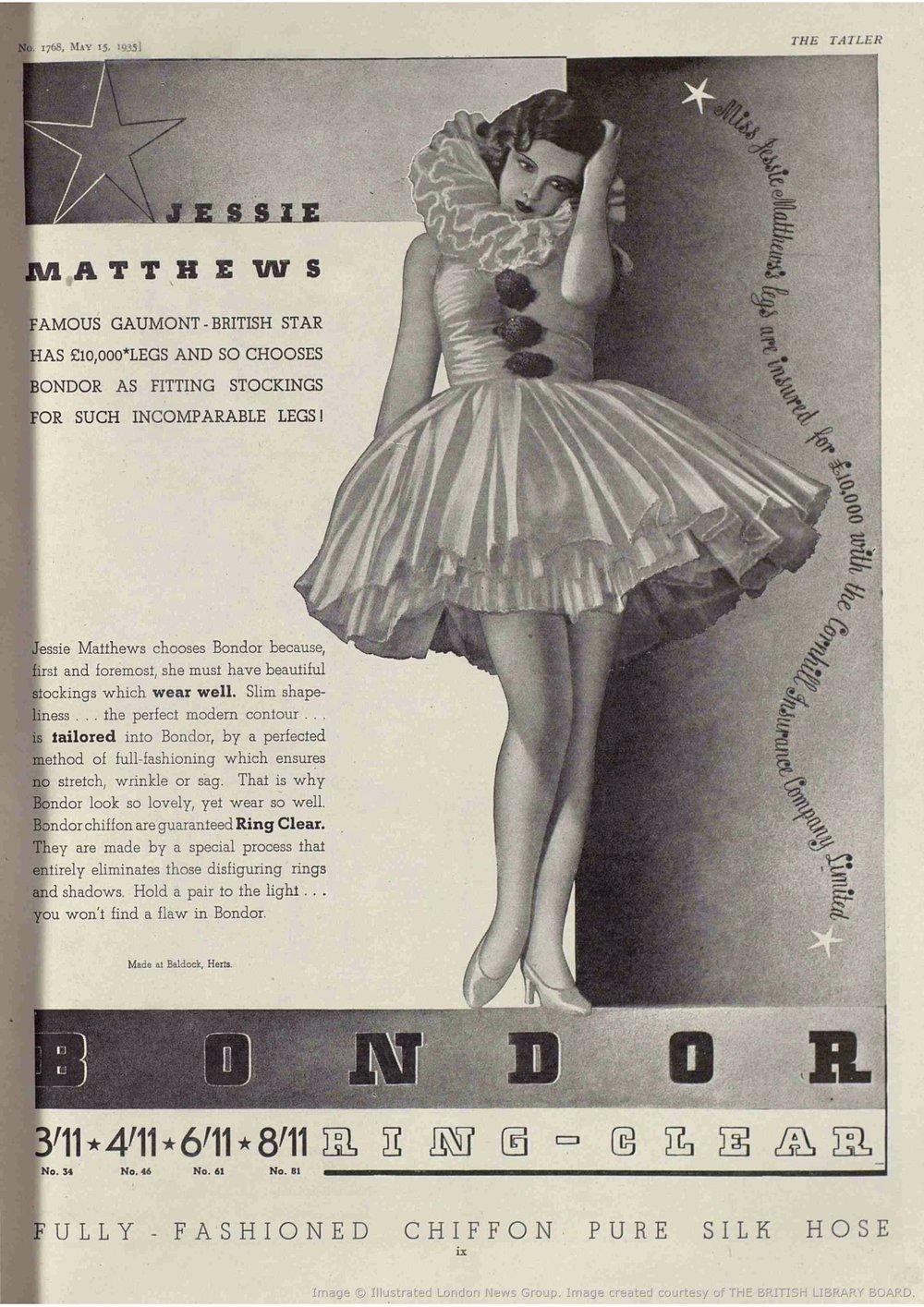 Jessie Matthews advertising Bondor Stockings