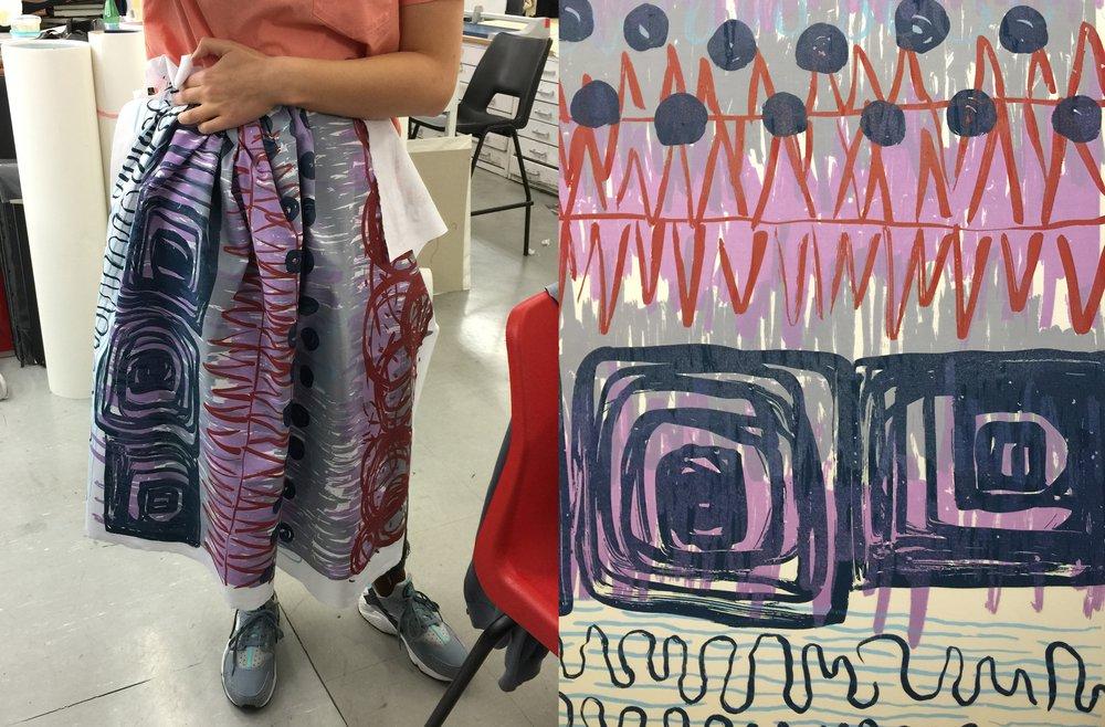 Lauren wearing my fabric