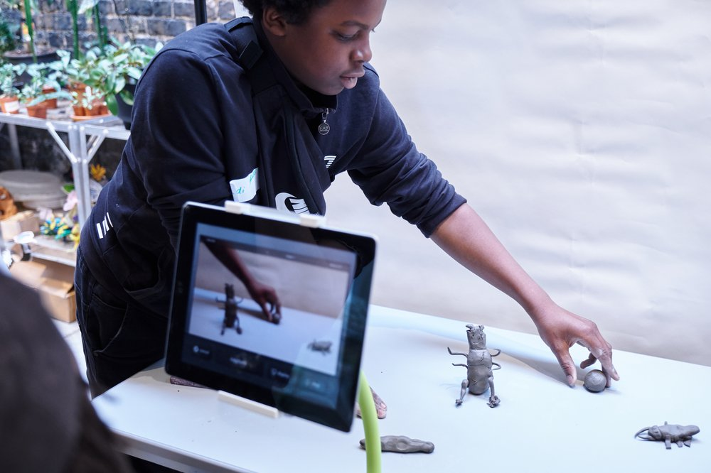 Lambeth Wilds, animation workshop with Lambeth Young Carers at the Garden Museum