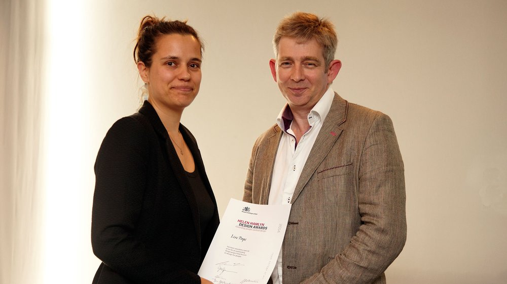 MIE Design Award presented to Lise Pape by Brian Firth, MIE Medical