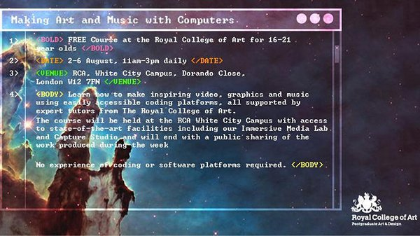 Making Art and Music with Computers, August 2021.