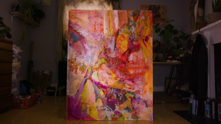 Large abstract painting in a domestic interior