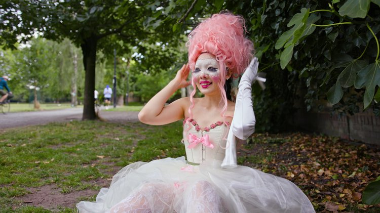 woman in a pink wig and fairytale corset dress