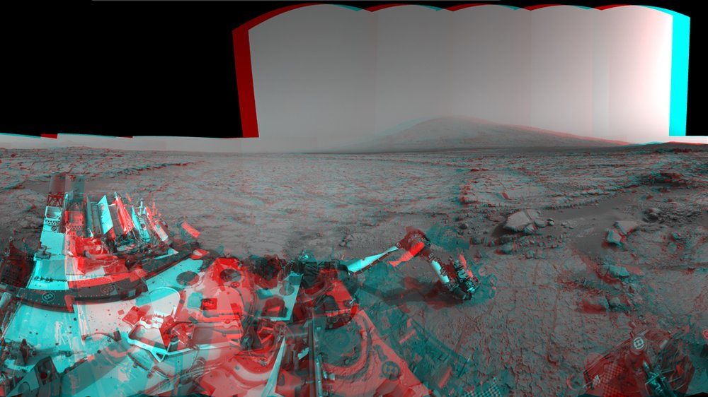 "Mars Stereo View from ""John Klein"" to Mount Sharp (Raw)"