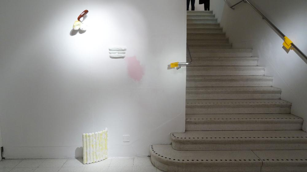Works by Lucia Quevepo (melting cheese, right) and Jude Crilly, both MA Sculpture