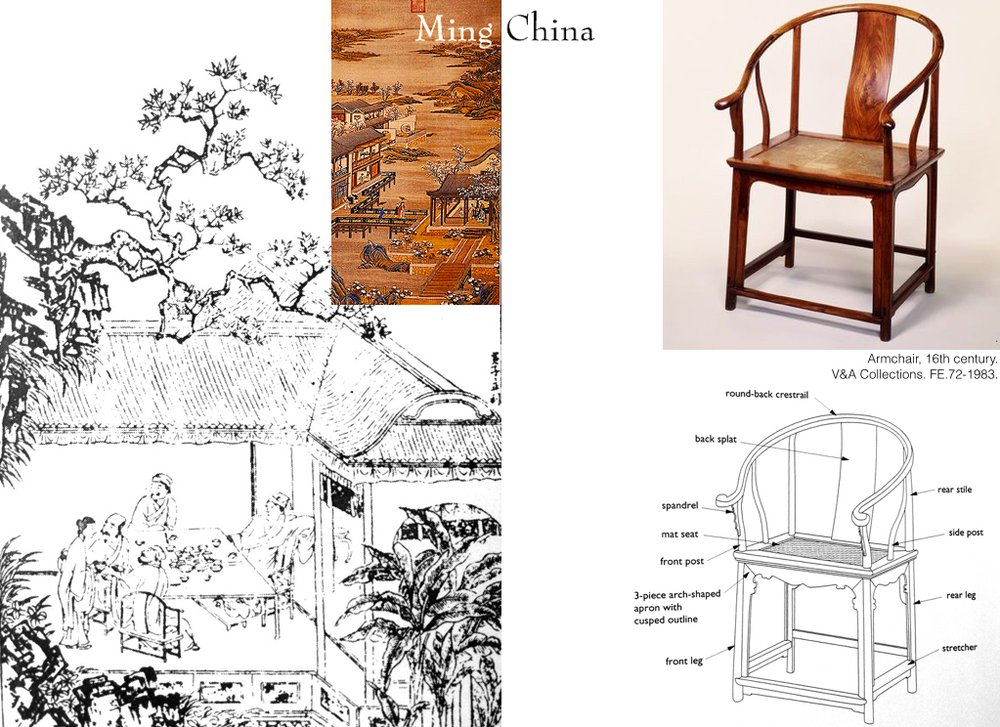 A woodblock illustration of a Ming chair from Jin Ping Mei 金瓶梅, China and a Ming chair collected by Victoria and Albert Museum, London