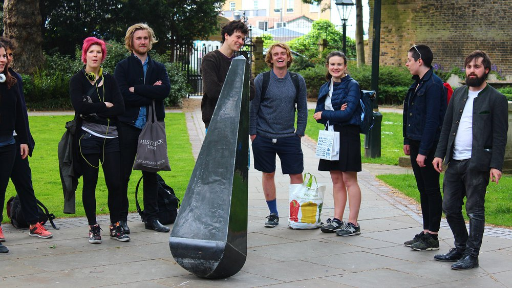 RCA Sculpture Student Oskar Jacobsen and CCA Students with Obelisk