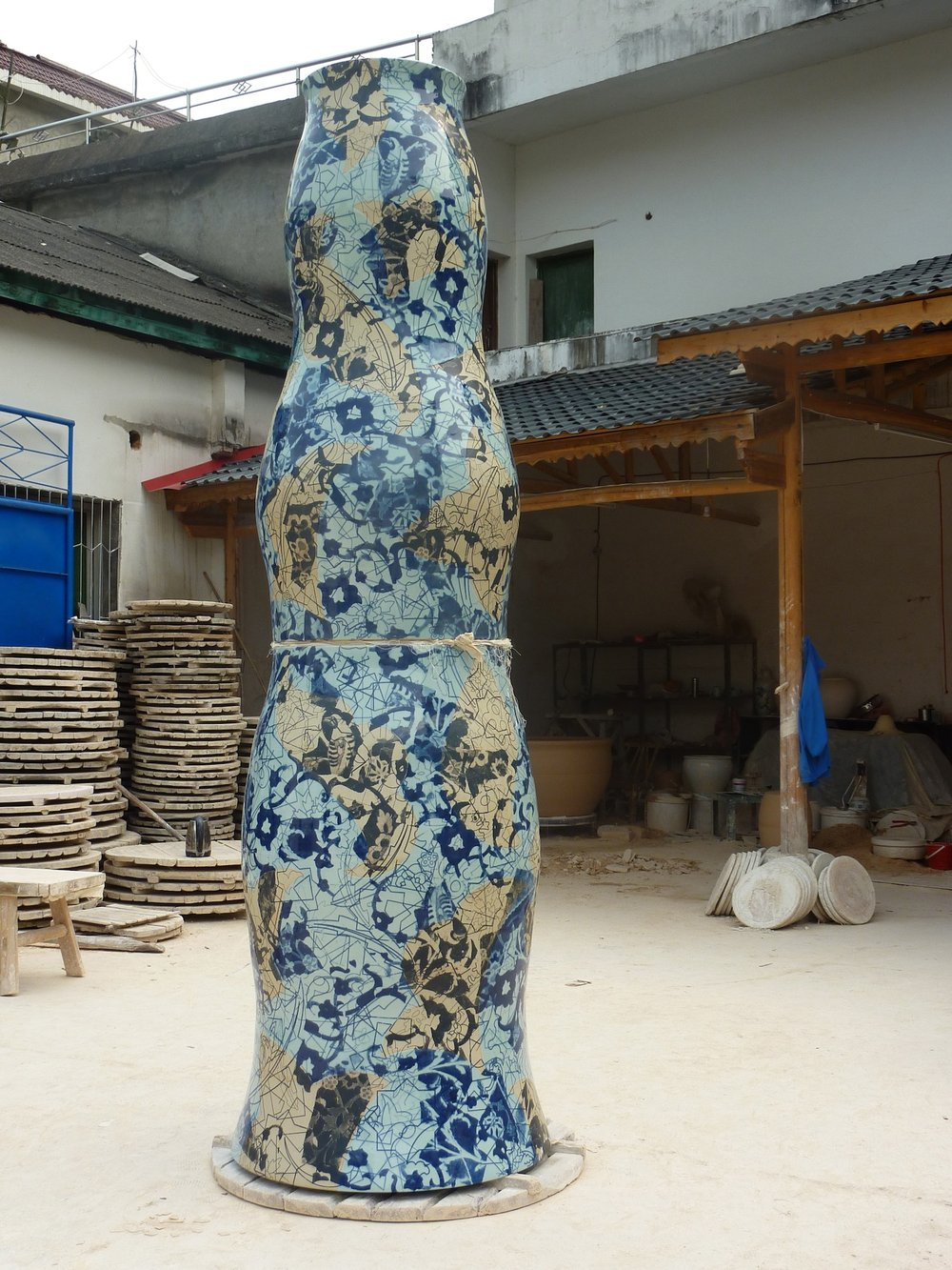 Prototype for Qatar commission in workshop courtyard, 2013