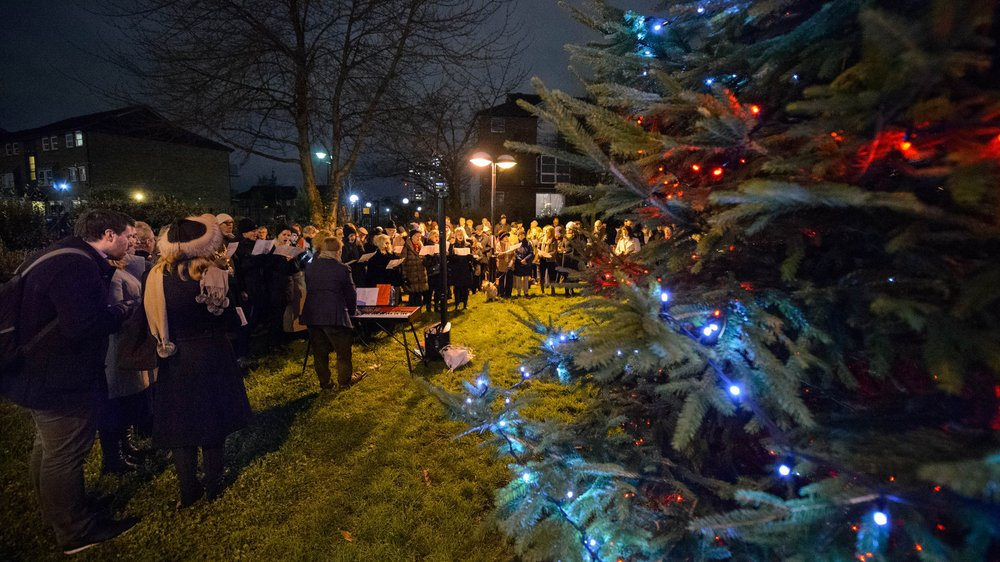 Carol Singing at the Switching on of the Chirstmas Tree Lights in Battersea