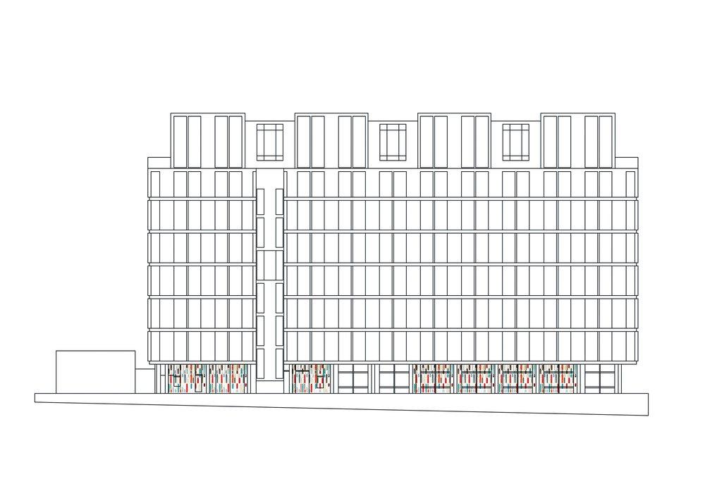 Project location: North facade, Darwin Building, Kensington Gore.
