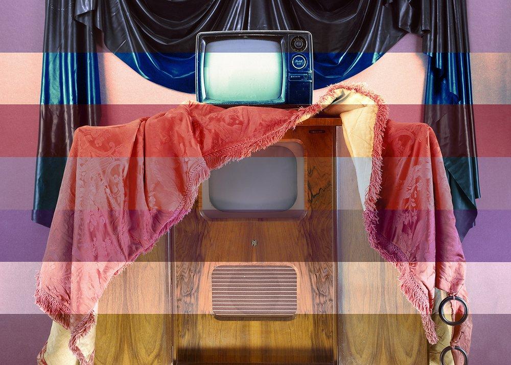 #PYE #Sanyo #TV #damask #curtain #rubber #walnut
