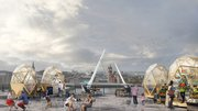 Foyle Bubbles along the River Foyle, Norther Ireland, 2018: part of an urban regeneration project to animate public space and provide opportunities for local entrepreneurs in a riverfront area known as a public health blackspot