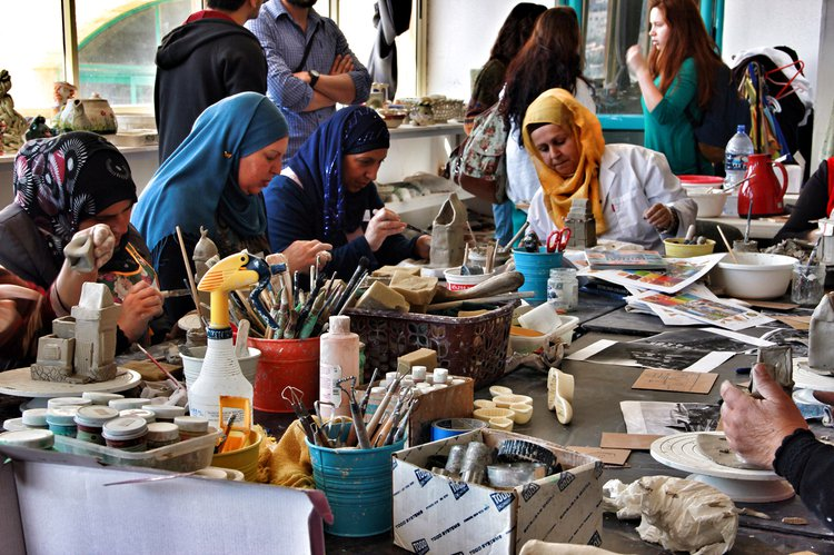 Women make ceramic objects