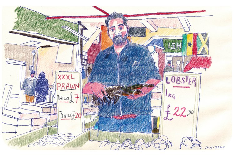 colour pencil drawing of a fishmonger at Billingsgate market holding a lobster