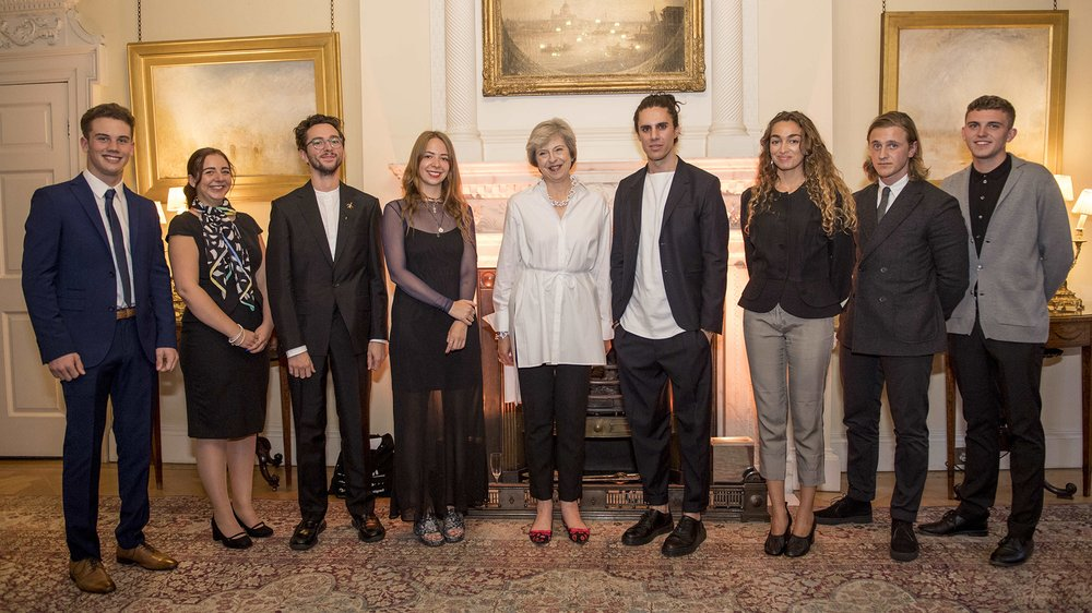 Prime Minister Theresa May with RCA Fashion Students