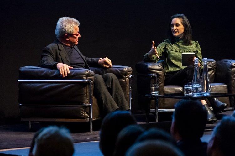 Priya interviewing Daniel Libeskind at the RIBA closeup