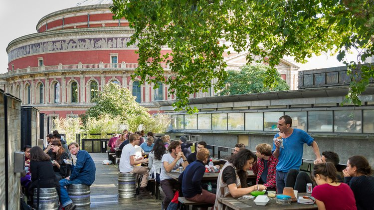 RCAfe Terrace, with views of the Royal Albert Hall