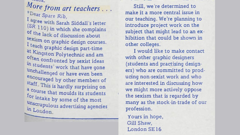 Graphic design lecturer Gill Shaw calls for feminist pedagogy to tackle sexism, the 'stock in trade' of the graphic design profession Gill Shaw