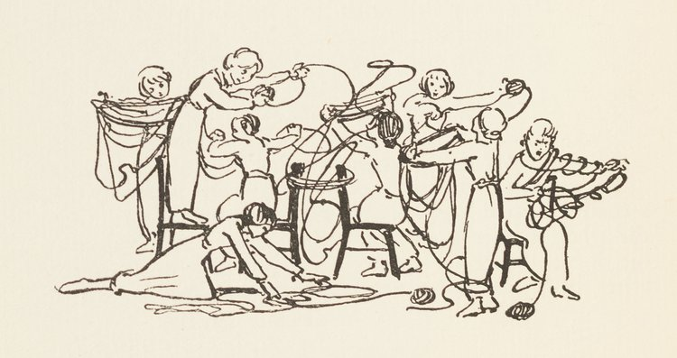 An illustration from the Autumn 1914 Issue of the RCA Student Magazine, showing female students winding wool, one of many new activities undertaken by students to contribute to the war effort. Artist unknown.