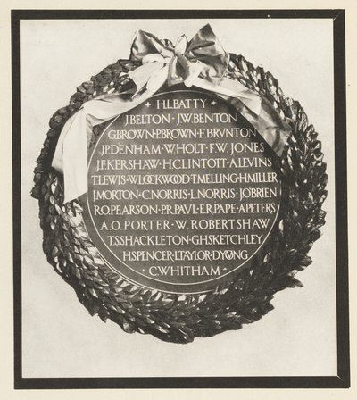 The RCA 1920 Armistice Day wreath commemorating students killed in action, reproduced in halftone and tipped into each copy of the 1921 issue of the RCA Student Magazine.  Photographer unknown.