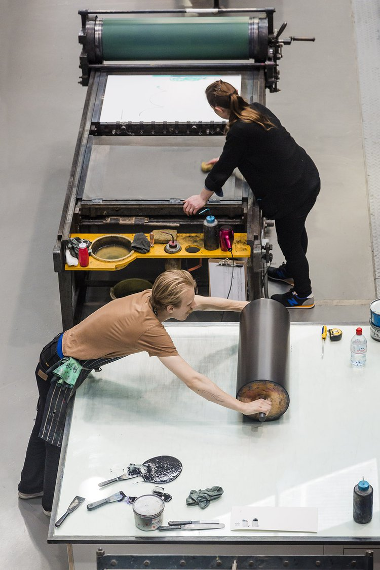 Students at work on a project at the RCA