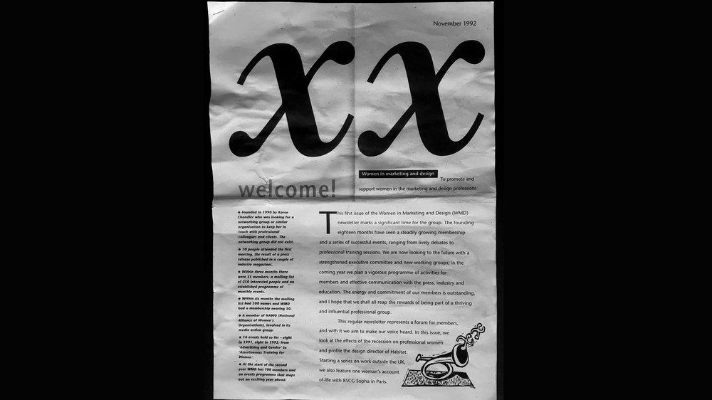 Women in Marketing and Design newsletter (photocopy), issue 1, November 1990. Design: Gill Davies / Tatham Pearce, Illustration: Wendy Scott