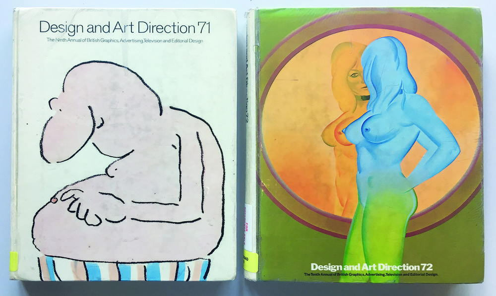 D&AD awards annuals 1971 and 1972. Designed by Ron Costley, cover art by Gray Jolliffe (left), Allen Jones (right).