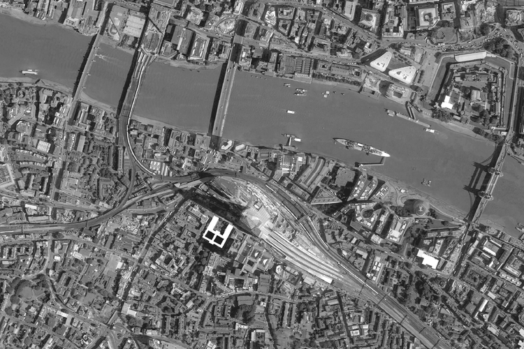 Arial View of Southward, with the Shard, London Bridge Station, and Guys Hospital