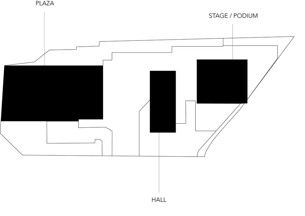 ZONING BUILDING . there are three structures / moments . PLAZA . HALL . PODIUM