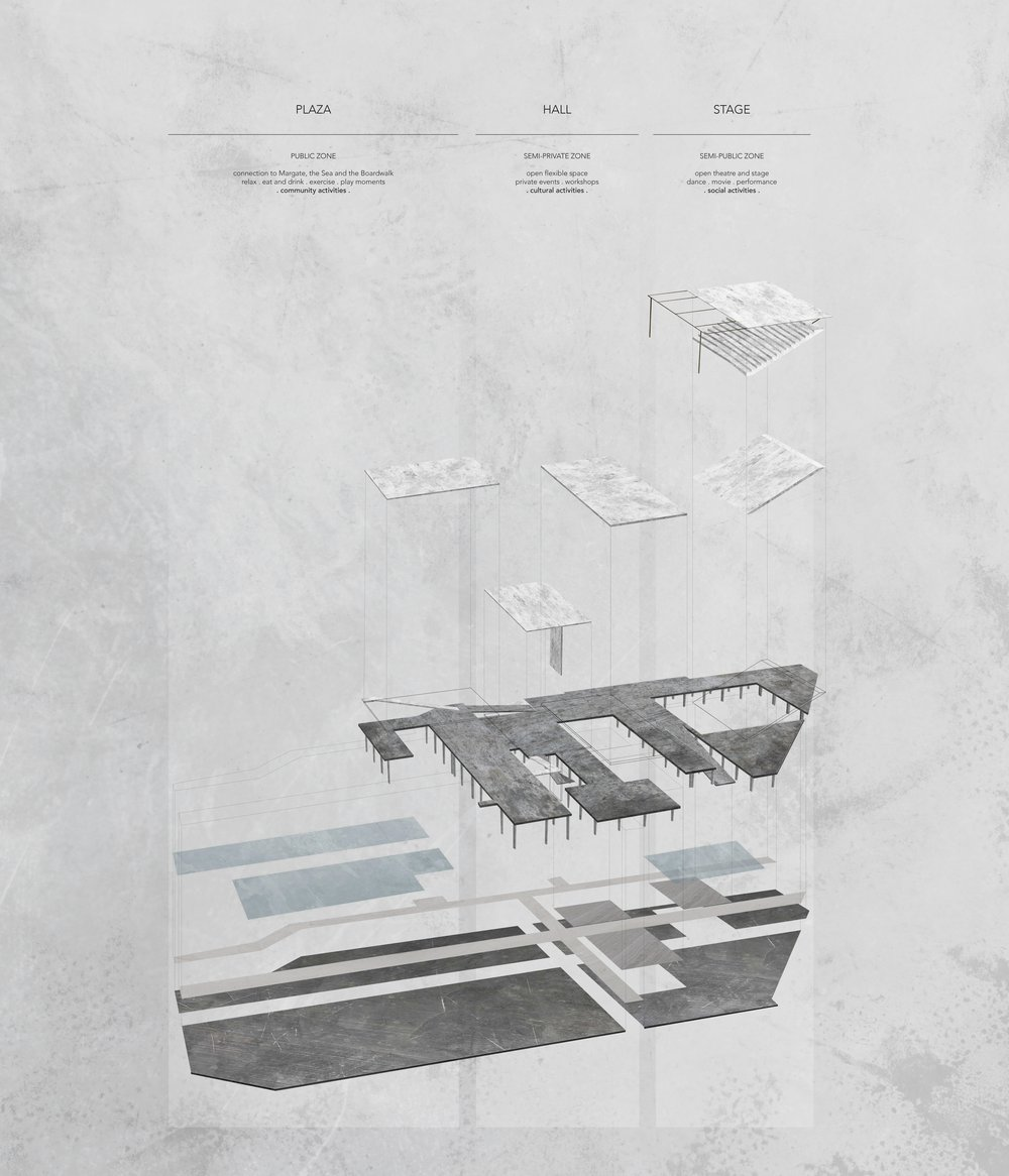 AXO BUILDING . three moments / structures . PLAZA . HALL . PODIUM