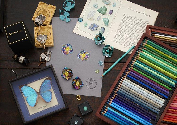 drawings for rainbow bloom earrings