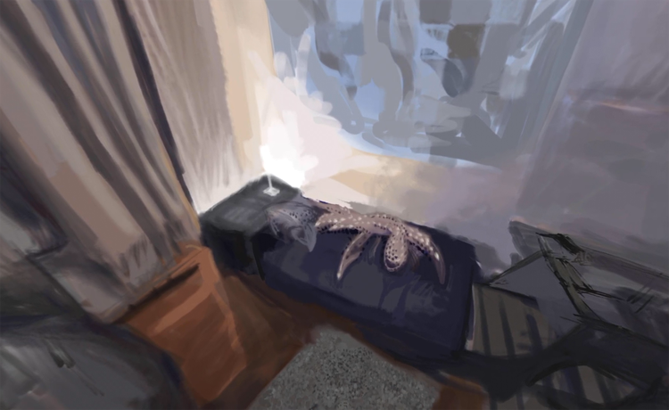 A blurred digital painting of a bedroom