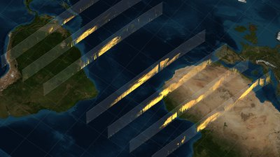 CALIPSO data curtains depicting dust in the atmosphere, shown in a flat map projection. Each curtain represents one pass of the satellite between 16 March 2010 to 2 April 2010. (The rightmost curtain is 16 March 2010 and the leftmost 2 April 2010)