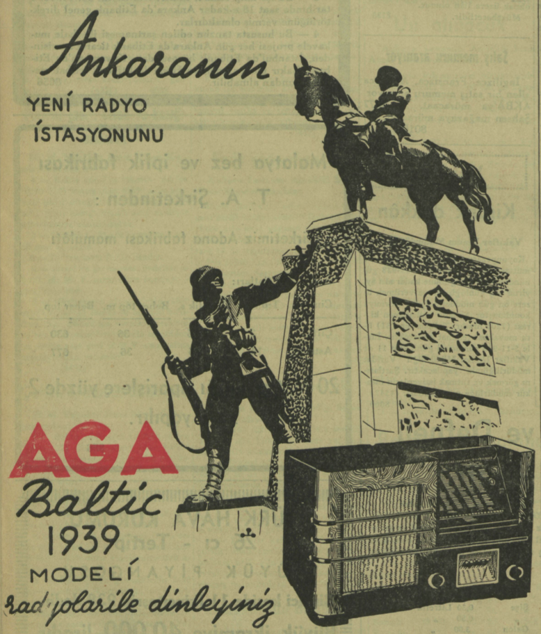 Advertisement for Aga Baltic Radios, picturing Ankara's Zafer (Victory) Monument by Heinrich Krippel (1927)  ©National Library, Ankara