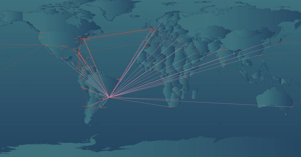 Traceroute of Brazil's Internet Connection to the World