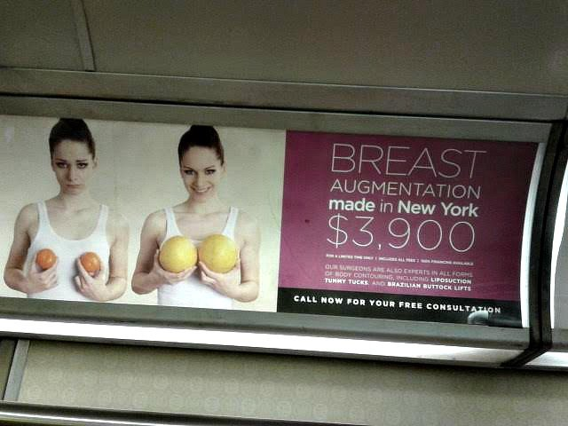 Advertisement for Doctors Plastic Surgery on New York subway
