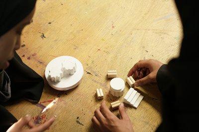 Students making models