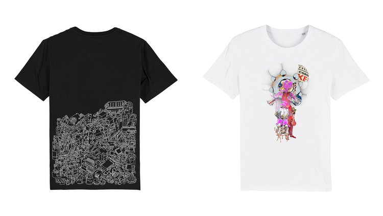 Images left to right: T-shirt designs by Vivien Reinert and Zongbo Jiang