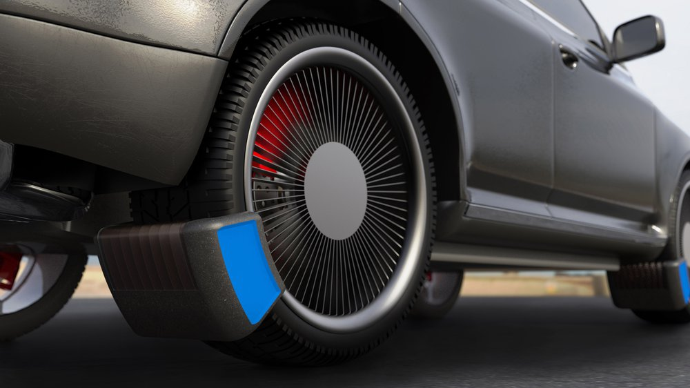 Render: Visual of the Tyre Collective device on a vehicle.