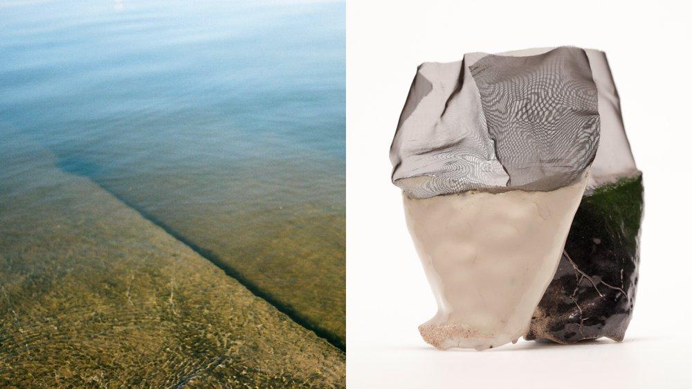 Gradation from solid to liquid / ceramic-textile