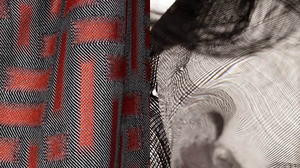 'How to use the 1 black 1 white warp on the single-thread-control loom at the TextielLab? Incorporate the colour sequence into the structure!' - Distortion of woven fabric through blown glass