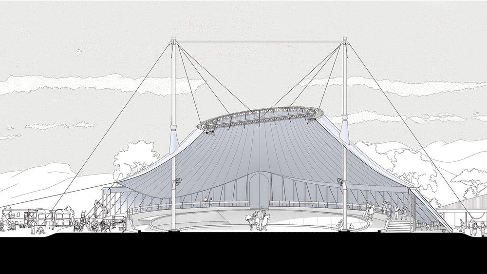 Archetype Study (section): Theatre Du Centaure, Patrick Bouchain / Tent