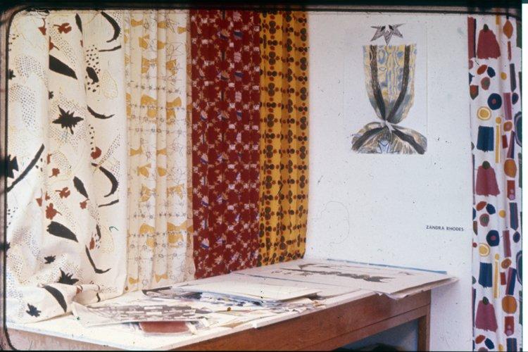 Zandra Rhodes' prints in the 1964 College graduate show.