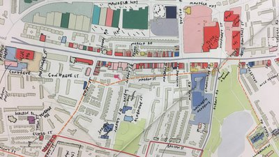 Drawing by Mark Brearley mapping the complex existing industry of Old Kent Road