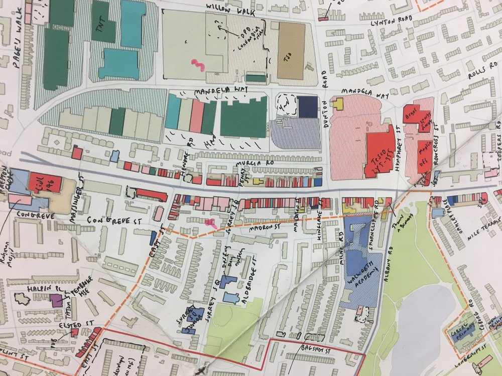 Drawing by Mark Brearley mapping the complex existing industry of Old Kent Road.