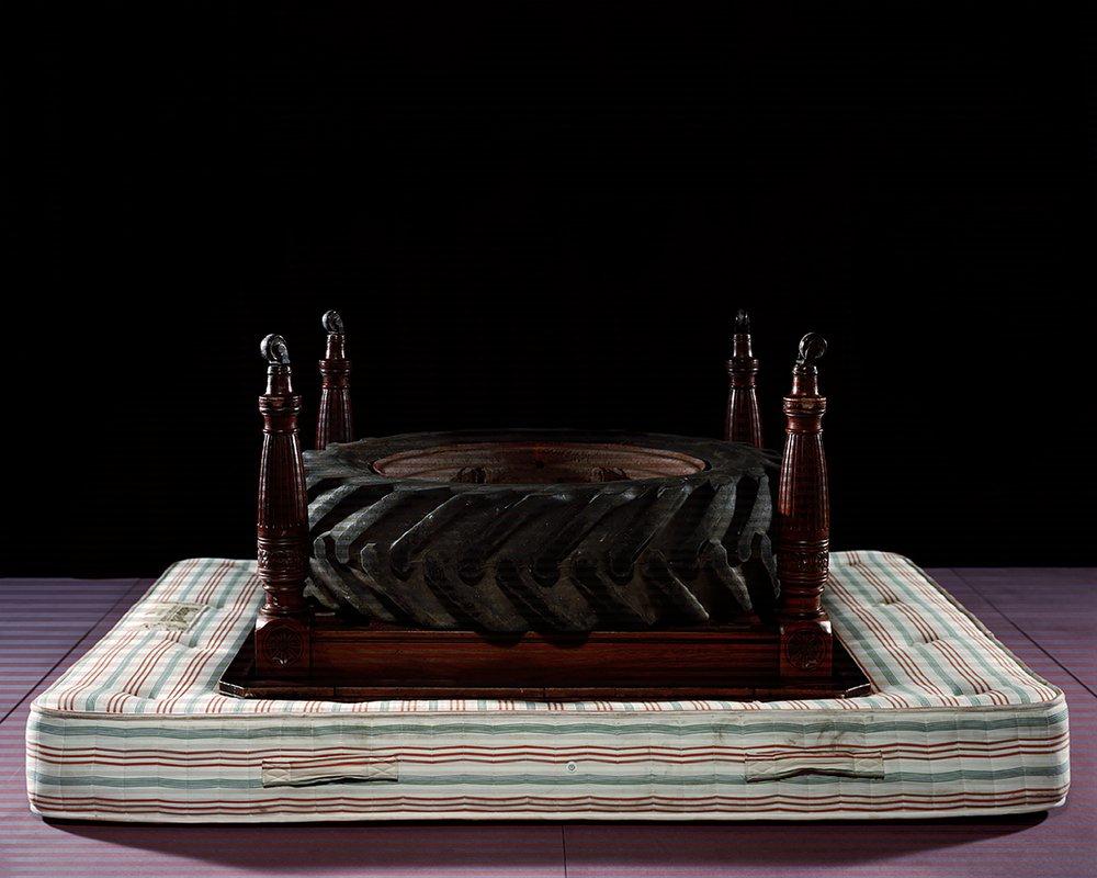 #Victorian #Double #Tyre #Mahogany #Mattress #Dining #Tractor #Table (Ektar 100 + Portra 400nc Bleach Bypass)