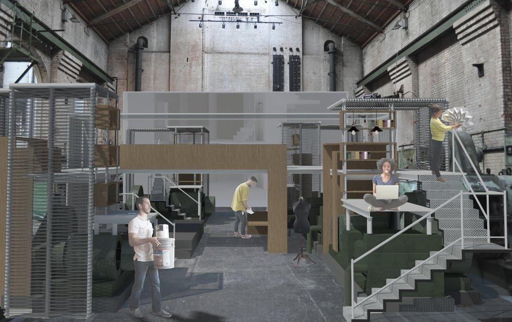 turbine hall converted into a co-working space