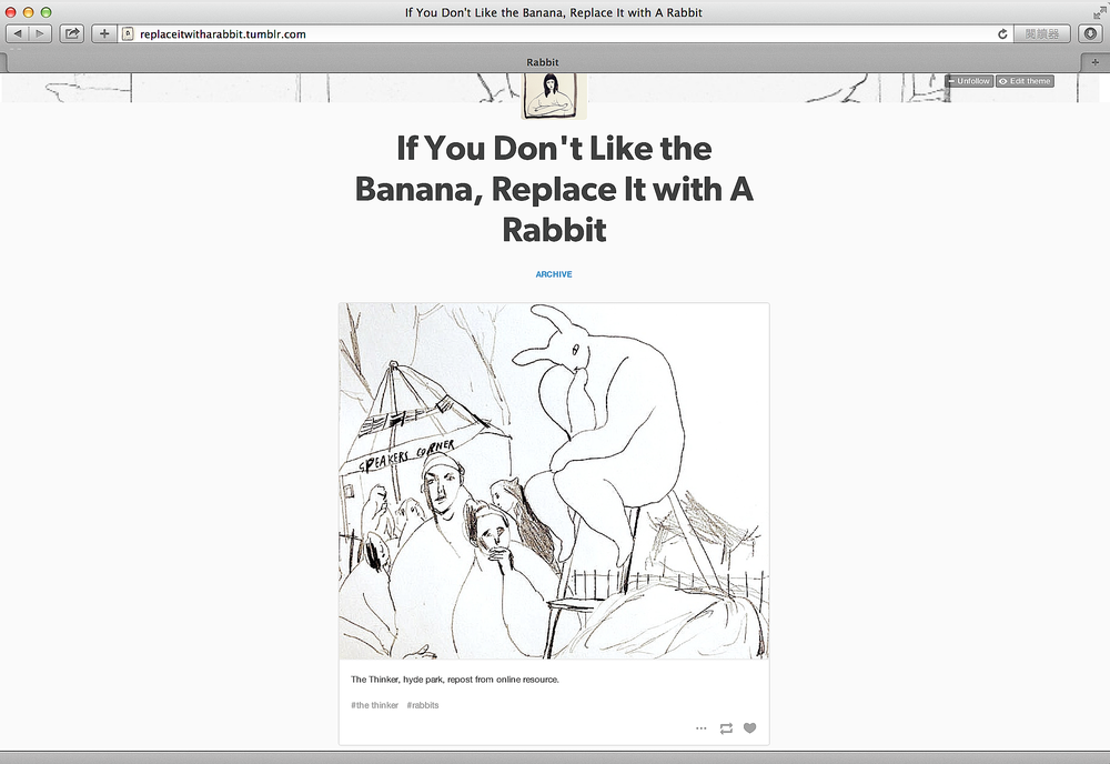 A snapshot from tumblr 'If you don't like the banana, replace it with a rabbit'