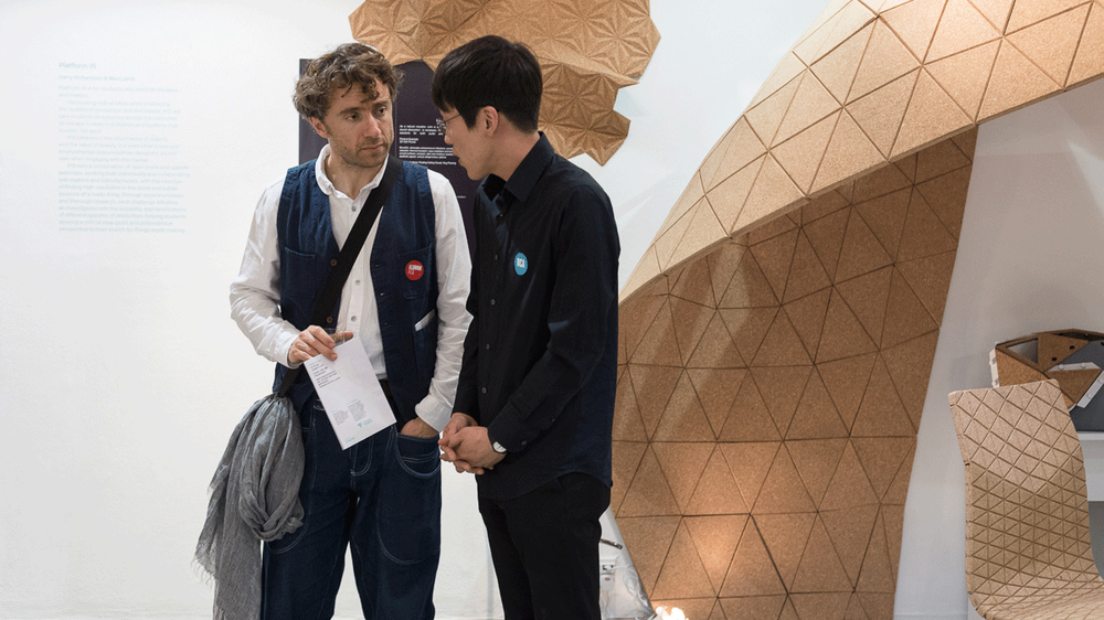 Alumnus Thomas Heatherwick with RCA student at ShowRCA 2014