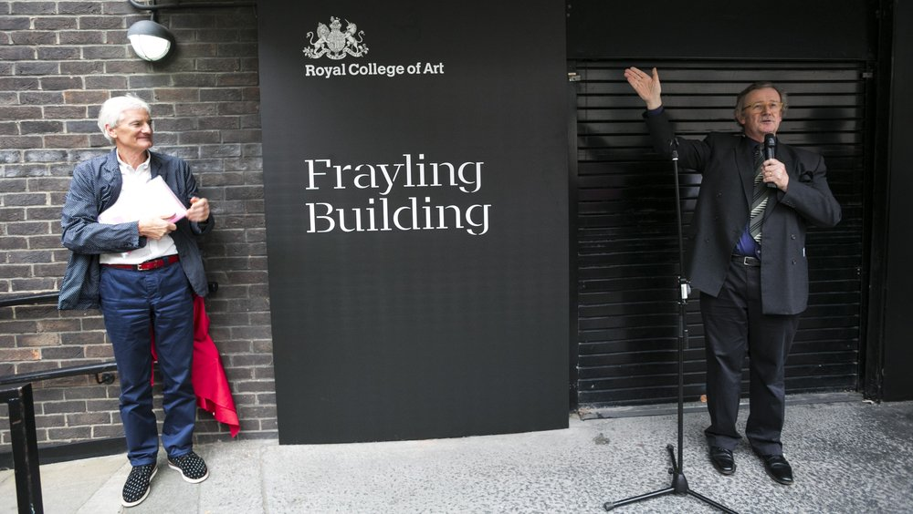 Former Rector of the RCA Sir Christopher Frayling with Sir James Dyson at the Unveiling of the Frayling Building